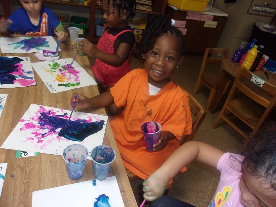 Children having fun painting in Art class at a Preschool & Daycare Serving Palm Springs, Lake Worth, West Palm Beach, FL